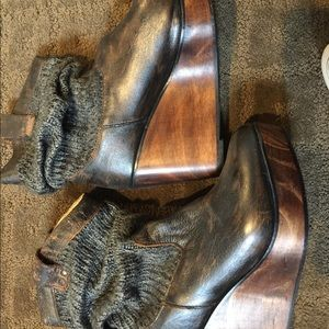 Shoes - Super rare wooden sole bootie w leather accents
